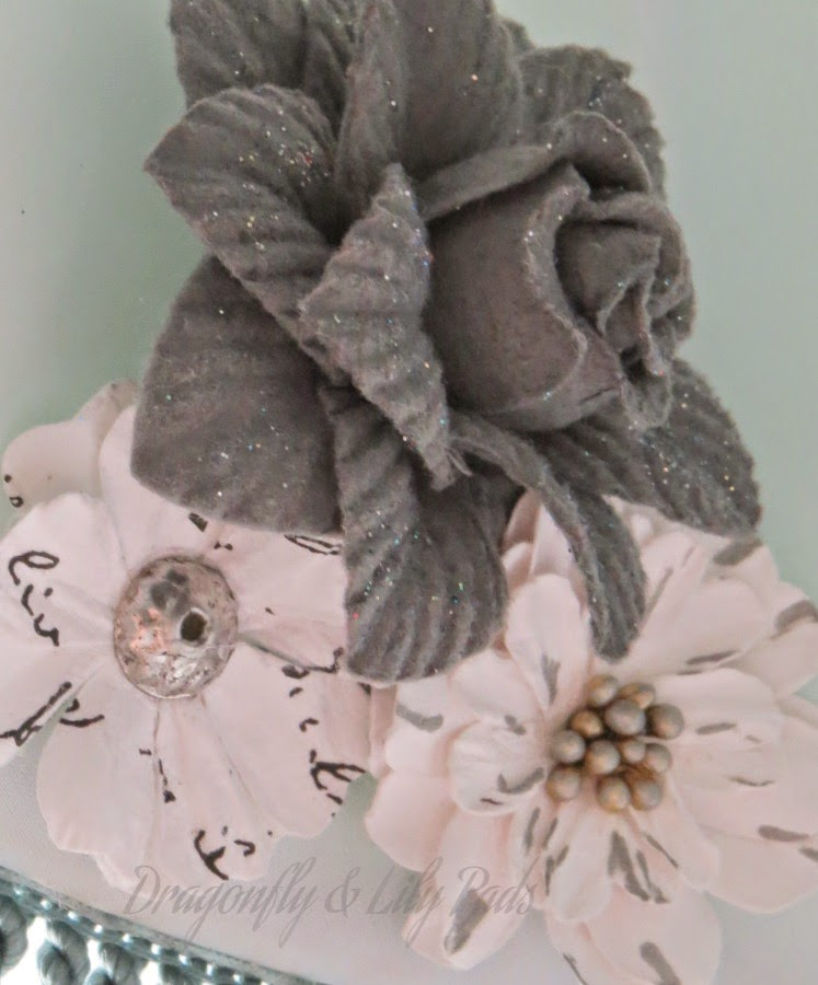 Flowers, Inside Lamp Decor, Silver, Grey, Gray, Print White