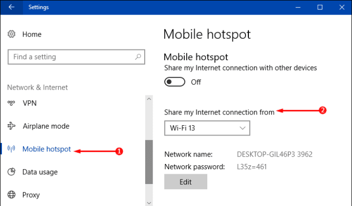 Way to Select a Network to Share through Mobile Hotspot on Windows 10