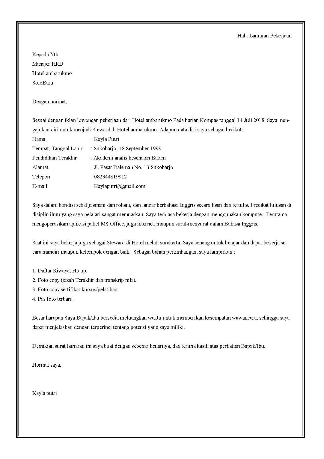 Contoh surat lamaran kerja di hotel sebagai Steward