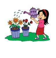 Soal UAS Bahasa Indonesia Kelas 2 Semester 1 - gambar menyiram bunga