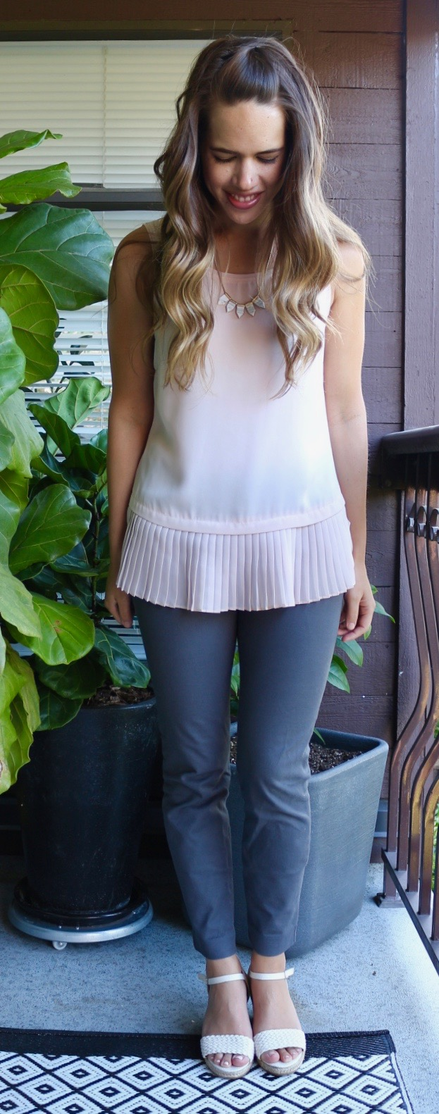 Jules in Flats July Outfits - Pleated Peplum Top
