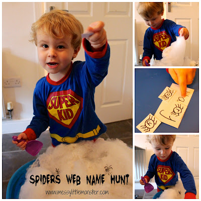 Spider web name recognition activity.  A fun spider and halloween themed name activity for toddlers and preschoolers.