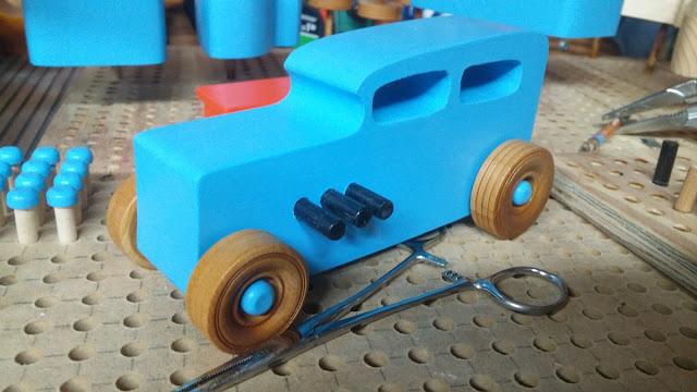 Phone Camera Shot  - Wooden Toy Car - Hotrod Freaky Ford - Pine - Blue - Shellac Wheels- Custom Order