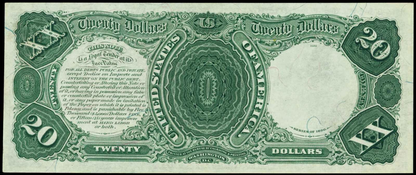 1880 20 Dollars Legal Tender Note