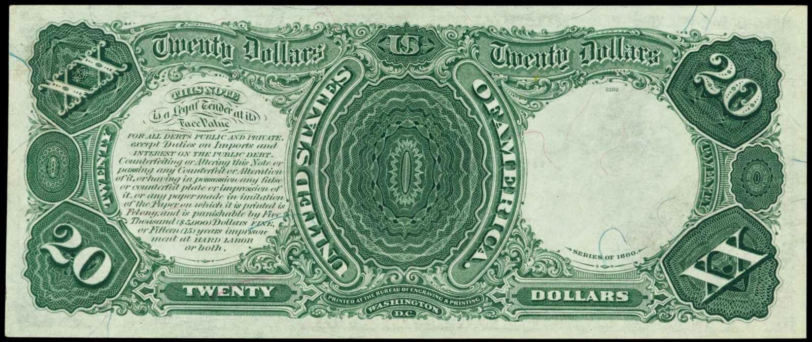 1880 20 Dollars Legal Tender Note