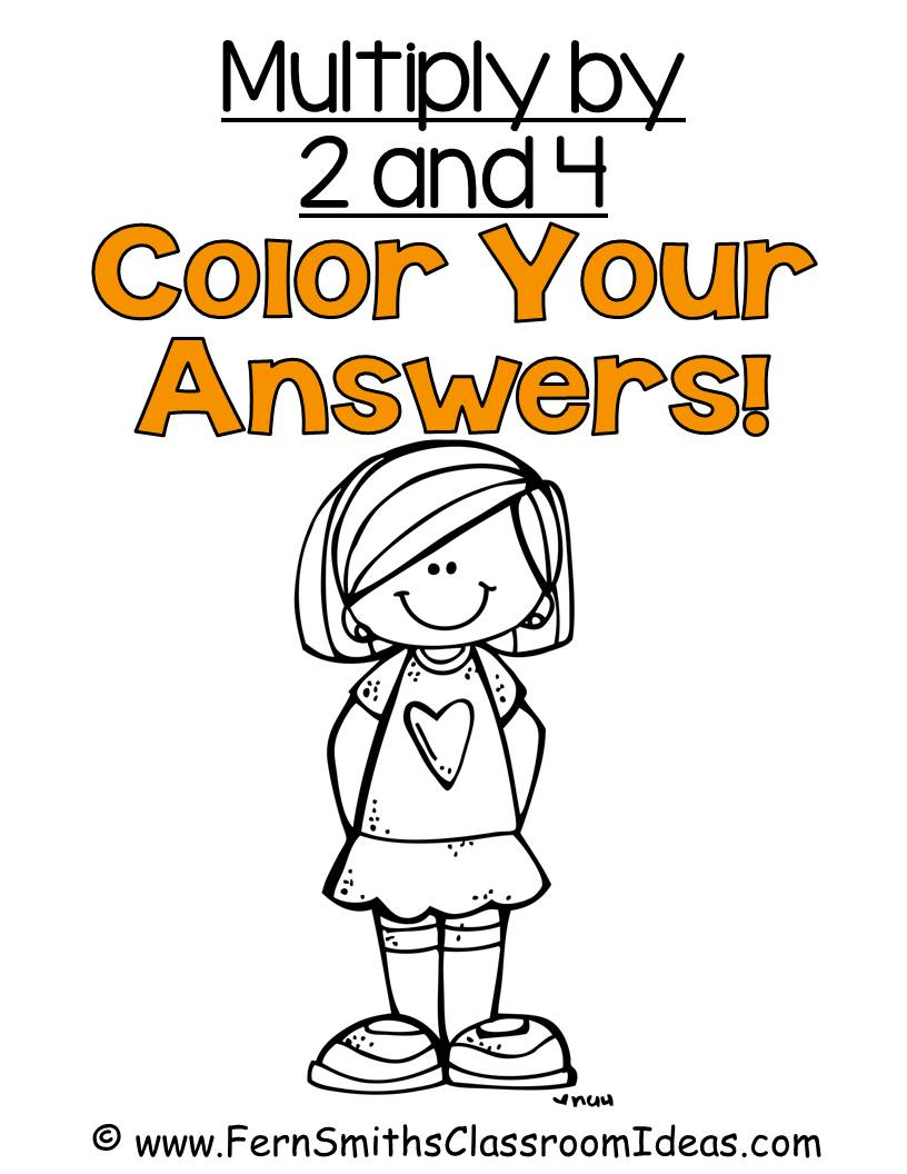 Fern Smith's Classroom Ideas Multiply with 2 and 4 - Color Your Answers Printables with No Common Core Listings