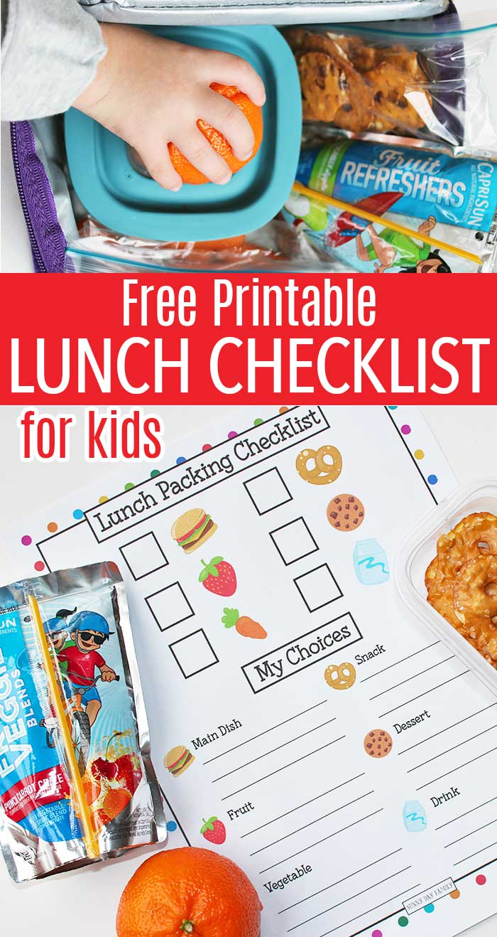 Free printable lunch packing checklist to help kids pack their own lunches! Help kids be more independent with these simple lunch box chart. #ad #lunchbox #kidslunch #schoollunch #checklist #freeprintables