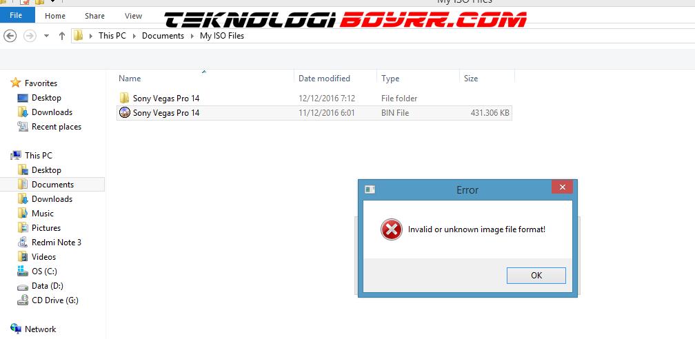 Cara Mengatasi File Bin Atau File Iso Error Tidak Bisa Dibuka
