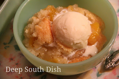 Winter Peach Cobbler, made with canned peaches and a sugar and flour crumble.