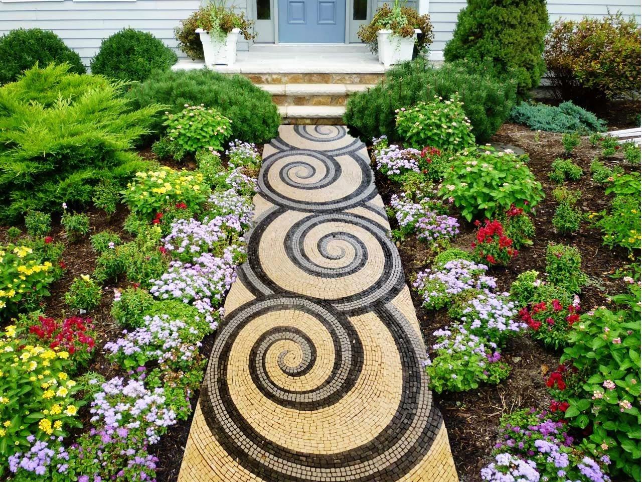 Use your blinker stone mosaic walkways for Nautilus garden designs