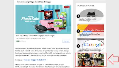 Cara Memasang Iklan Adsense di Antara Widget Artikel Terpopuler