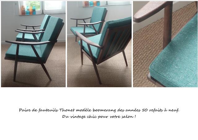 Paire de fauteuils Boomerang Thonet
