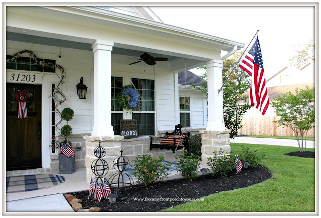 Patriotic Home Decor-4th of July-Porch Swing-Blue Porch Ceiling- Front Porch-From My Front Porch To Yours