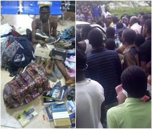 OAU student paraded with items of fellow students he allegedly stole in school (Photos)