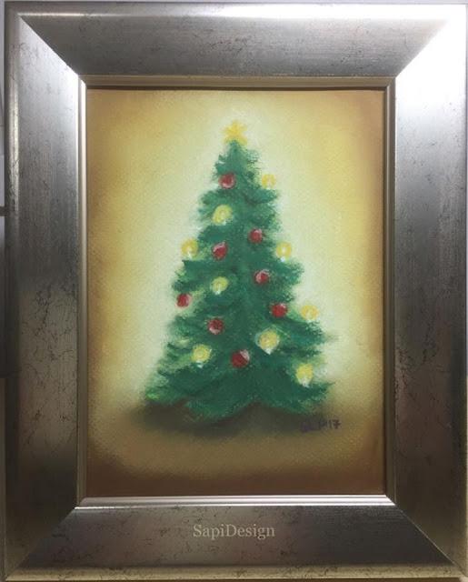 joulu kuusi pastellimaalaus