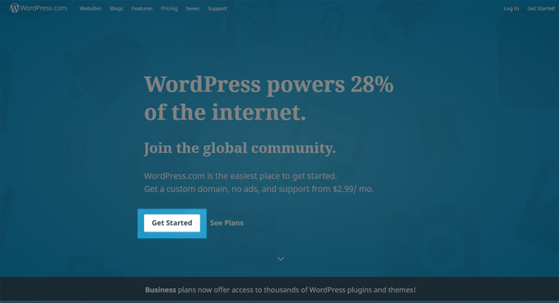 Halaman awal wordpress.com