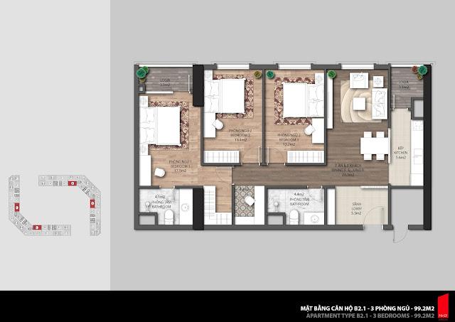 Thiết kế căn B2.1 - 99,2m2 chung cư The Emerald