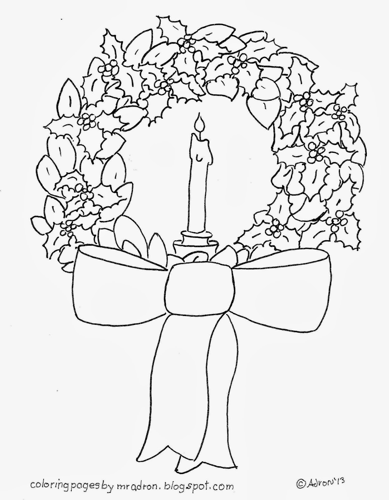 Coloring Pages for Kids by Mr. Adron: Christmas Wreath