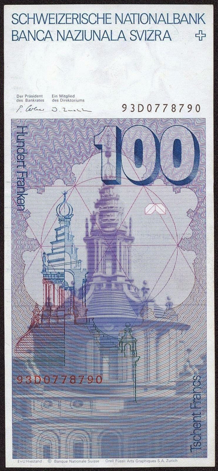 Switzerland Currency 100 Swiss Franc note