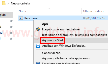 Windows 10 menu contestuale file opzione Aggiungi a Start
