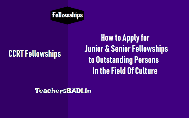 junior senior fellowships to outstanding persons in the field of culture 2018,how to apply for ccrt junior senior fellowships,last date to apply for  ccrt junior senior fellowships,ccrt fellowships