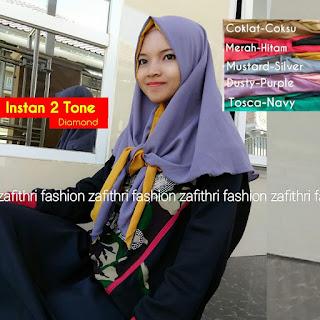 hijab instan 2 tone bahan diamond