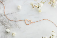 14k rose gold heart frame bracelet