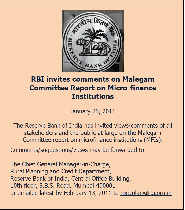 Micro-Finance Watch: RBI (Malegam) Report: What's on the Platter