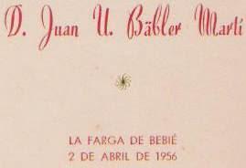 Homenaje a Juan U. Bäbler Martí en 1956