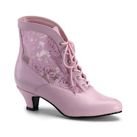 Victorian Ankle Boots Pink Lace