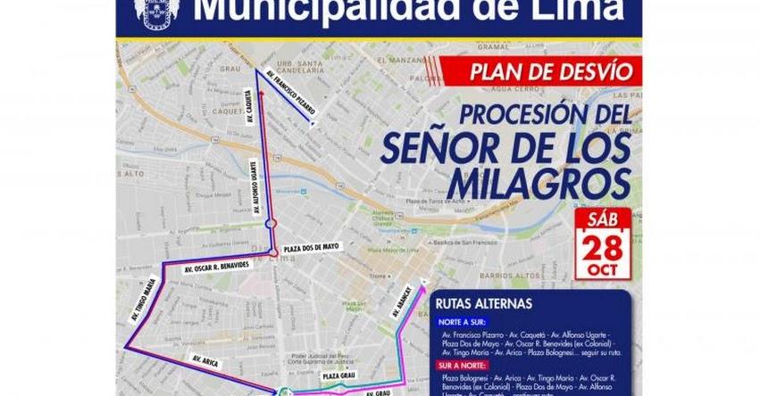 SEÑOR DE LOS MILAGROS 2017: Conoce los desvíos vehiculares para este sábado 28 por la procesión - www.nazarenas.tv