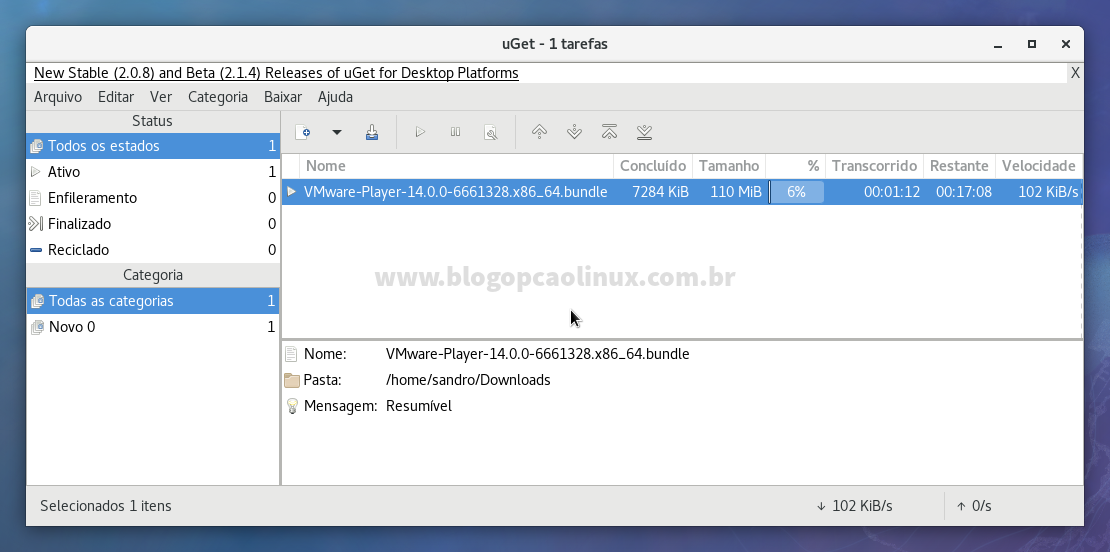 uGet Download Manager executando no Fedora 27 Workstation
