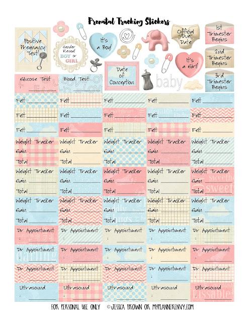 Free Printable Prenatal Tracking Sticker Kit from myplannerenvy.com