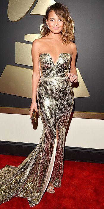 Christine Teigen in a Johanna Johnson dress at the Grammys 2014