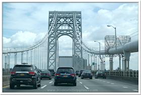 George Washington Bridge in New York  |  3 Garnets & 2 Sapphires