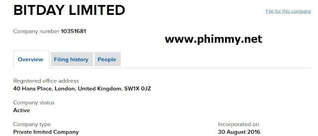 Thông tin đăng ký kinh doanh công ty bitday