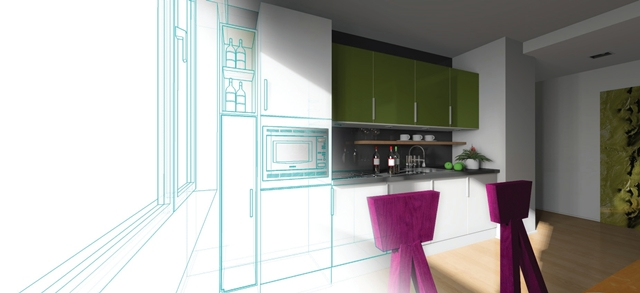 Illustration showing modern kitchen coming out from a drawing