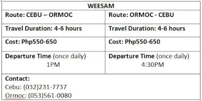 weesam schedule fare rates duration ormoc cebu