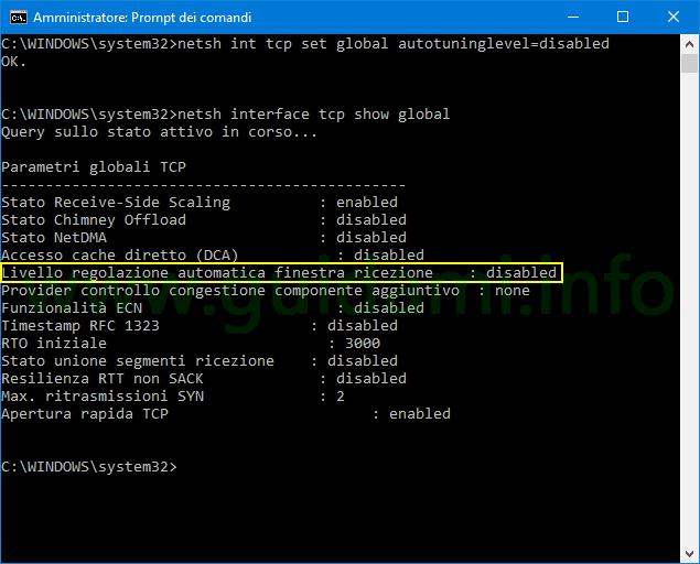 Prompt dei comandi Windows disattivare ottimizzazione TCP
