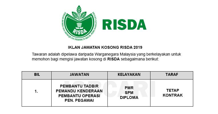 Jawatan Kosong di RISDA - Minima Syarat Kelayakan PMR / PT3 / SPM / STPM / Diploma