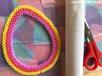 Hama bead Easter egg shaped sun catchers craft