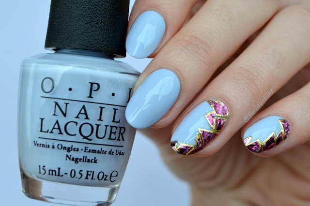 jewels holographic shell pastel purple accent nails