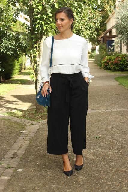 total look zara, jupe-culotte, sac vert, manchette hipanema les petites bulles de mavie