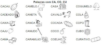 Lista de palavras e desenhos da família silábica CA-CO-CU