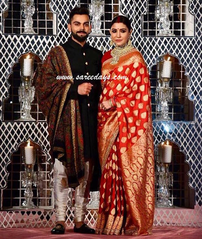 Latest saree designs anushka sharma in red bridal saree anushka sharma in red bridal saree altavistaventures Image collections