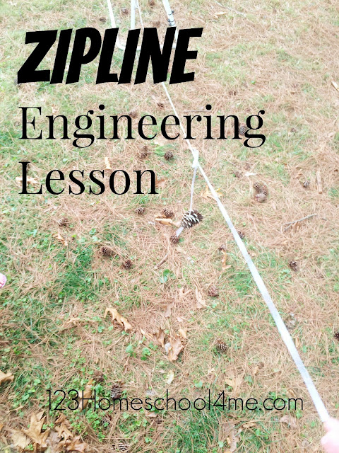 Zipline Engineering Lesson - This is such a fun STEM lesson for preschool, kindergarten, and elementary age kids! It combines science and math activities to make a really fun educational activity (homeschool)