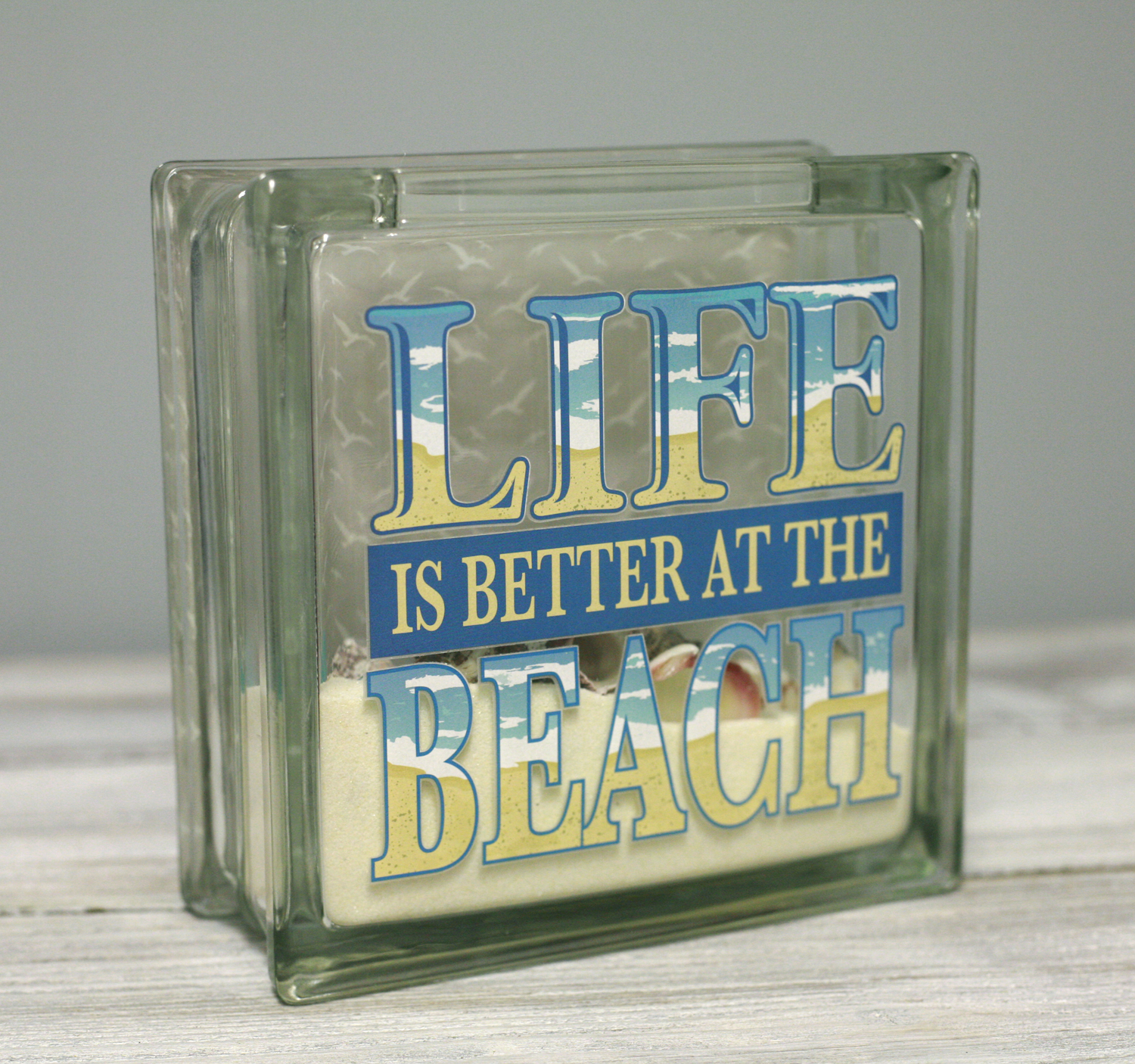 Ben franklin crafts and frame shop diy glass block beach for Glass block crafts pictures