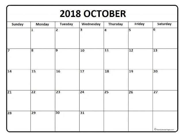 October 2018 Free Printable calendar