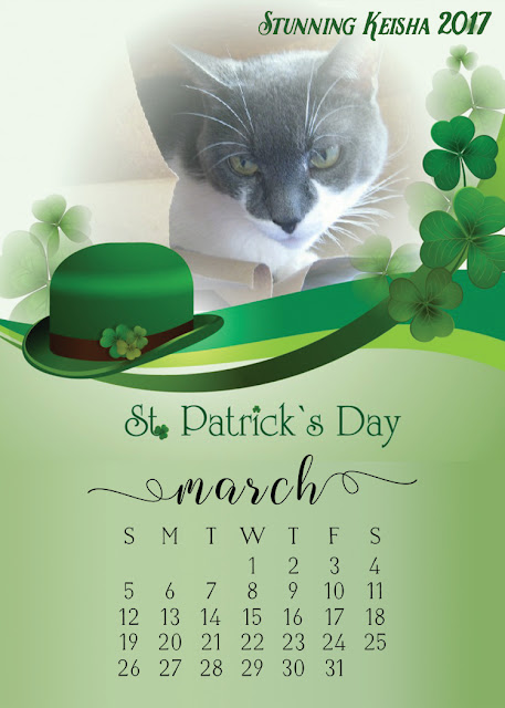 Free Downloadable March Cat Calendar