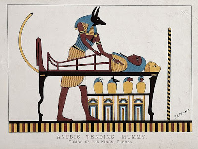 Anubis with a mummy, mummification, canopic jars, jackal-headed god, Egyptian mummy, Egyptian mummification, mummies for kids